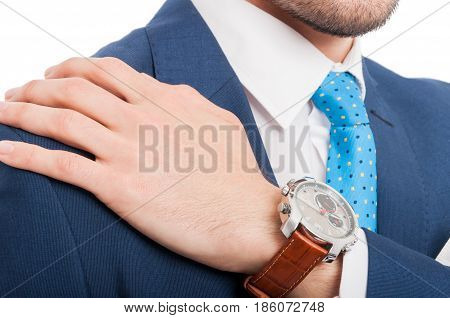 Close-up View Of Man Hand With Elegant Watch