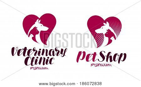 Pet shop, veterinary clinic logo. Animals, dog, cat, parrot icon or symbol. Label vector illustration isolated on white background