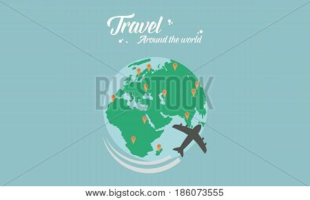 Travel on the world vector flat collection stock