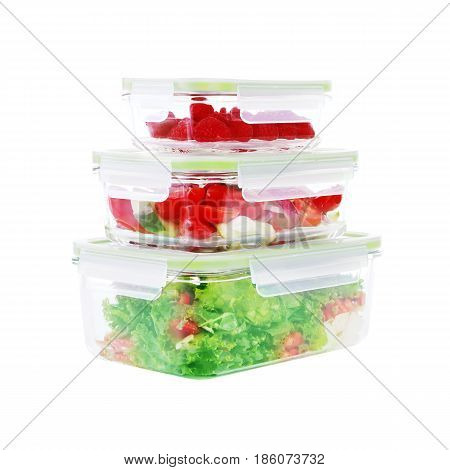 Set Of Glass Food Containers Filled With Fruits And Vegetables Isolated On White Background. Clippin