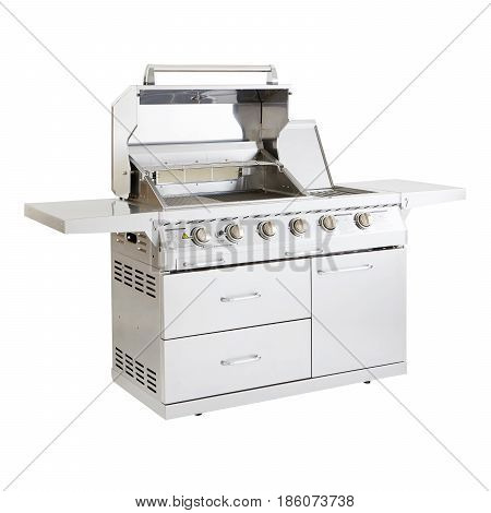 Stainless Steel Bbq Grill Isolated On White Background. Barbecue Gas Grill. Outdoor Cooking Station.