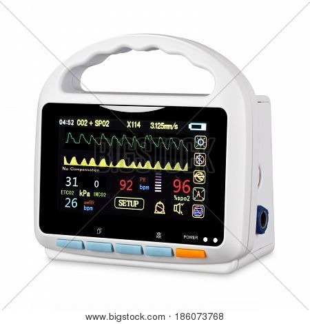 Vital Signs Monitor Device Isolated on White Background. Medical Diagnostic Equipment. Capnography Monitor. Monitoring Device. Clipping Path poster
