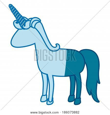 blue silhouette of cartoon faceless unicorn standing with mane vector illustration