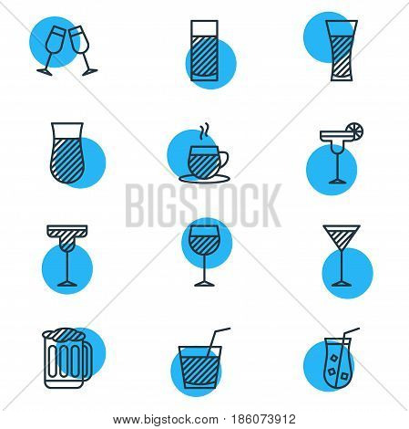 Vector Illustration Of 12 Beverage Icons. Editable Pack Of Beverage, Aqua, Martini And Other Elements.