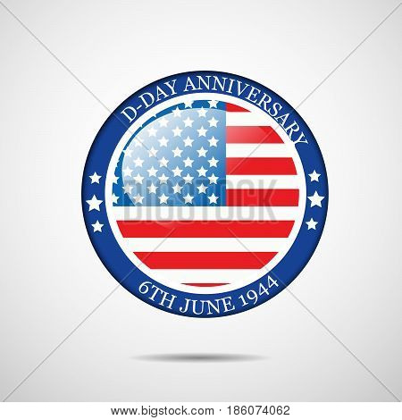 illustration of stamp in US flag background with D-Day Anniversary 6th june 1944 text