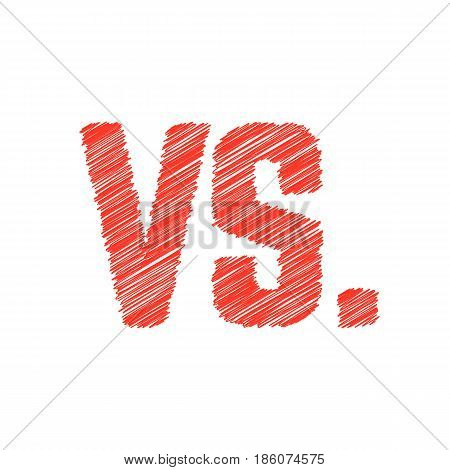 abstract red versus scribble sign. concept of hand drawn token, opposition, confrontation, standoff, counteraction. isolated on white background. sketch style trend modern design vector illustration