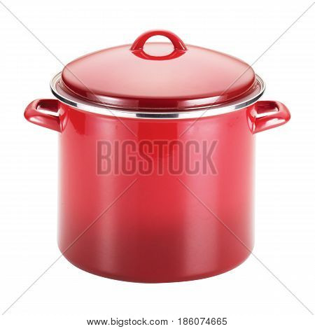 Red Enamel Coating Nonstick Stockpot With Lid Isolated On White Background. Cooking Pot And Pan