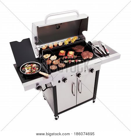 Barbecue Gas Grill With Food Isolated On White Background. Stainless Steel And Black Bbq Grillware G