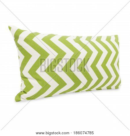 Green Chevron Bolster Pillow Isolated On White Background. Clipping Path