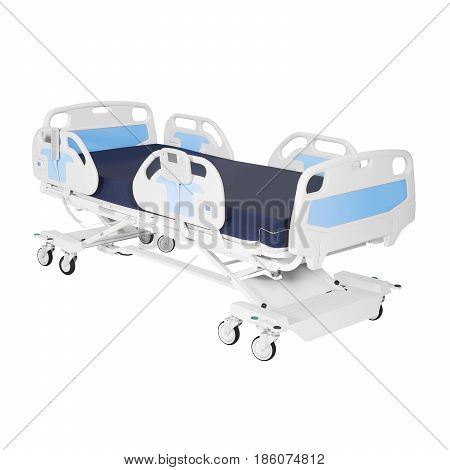 Hospital Bed Stretcher Or Patient Bed Isolated On White Background. Electric Variable Height Bed. Me