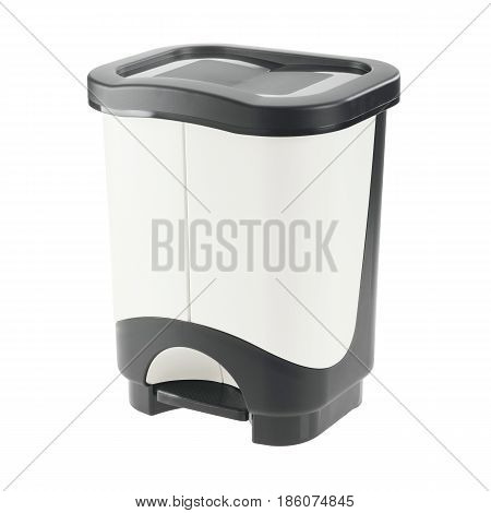 Plastic Recycle Bin Isolated On White Background. Plastic Waste Disposal Bin. Trash Can. Clipping Pa