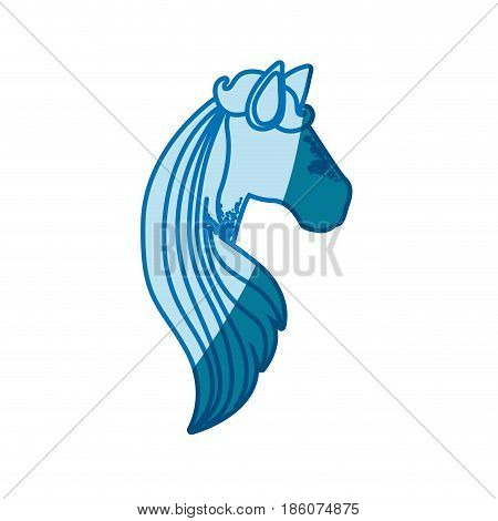 blue silhouette of faceless side view of female horse with long striped mane vector illustration