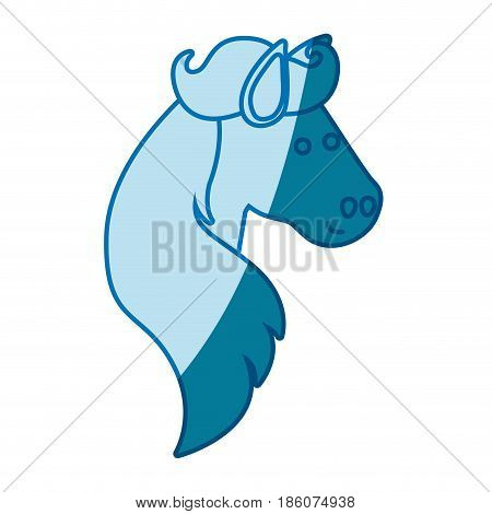blue silhouette of face side view of horse with long mane vector illustration