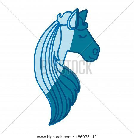 blue silhouette of face side view of female horse with long striped mane vector illustration