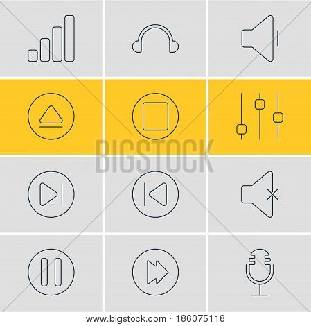 Vector Illustration Of 12 Melody Icons. Editable Pack Of Subsequent, Preceding, Soundless And Other Elements.