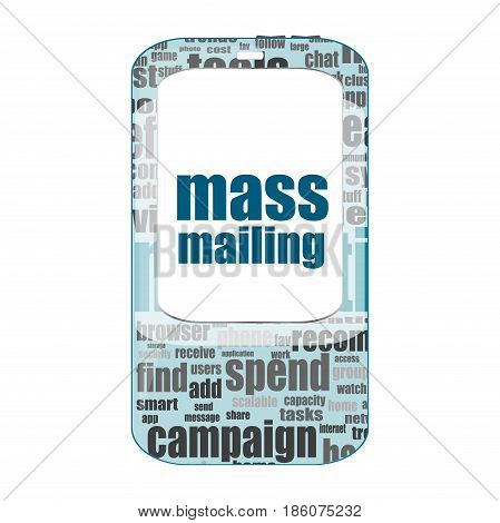 Text Mass Mailing. Management Concept . Detailed Modern Smartphone Isolated On White