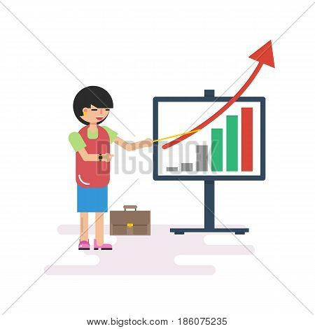 Vector flat character - happy business lady at work in office. She shows company success on the growth chart. Isolated illustration