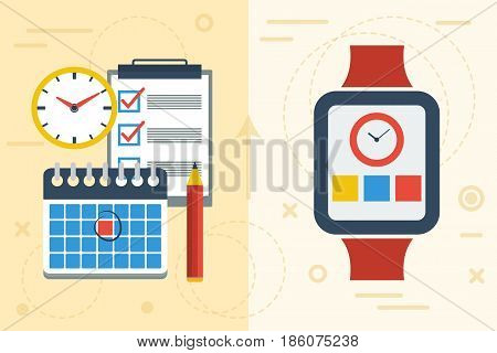 Vector flat illustration concept of time planning with app on smart watch and paper calendar and notes. Comparison of two popular ways to prepare the agenda