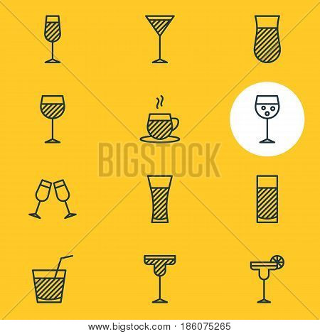 Vector Illustration Of 12 Beverage Icons. Editable Pack Of Cocktail, Goblet, Beverage And Other Elements.