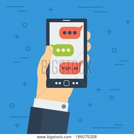 Vector cyberbullying concept. Bad bubble sms on monitor of smartphone in hand, online aggression. Dangerous social networking in flat style