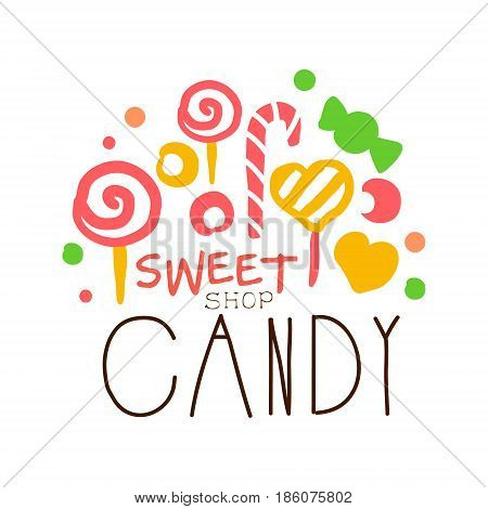 Sweet candy logo. Colorful hand drawn label for confectionery, bakery, candy bar, sweet store
