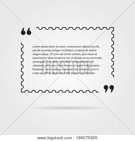 citation in thin line postage stamp. concept of thoughts, notice, postcard, testimonials, aphorism, poster, expression. isolated on gray background. flat style trend modern design vector illustration