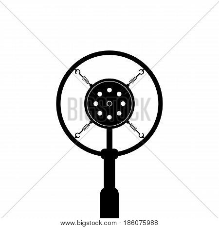 black retro microphone on white background. concept of news, message, announce, on the air, show, podcasting, recording, journalism. flat style trend modern design vector illustration