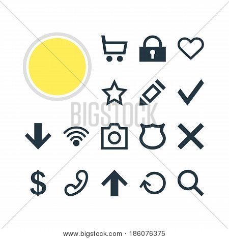 Vector Illustration Of 16 Interface Icons. Editable Pack Of Conservation, Snapshot, Seek And Other Elements.