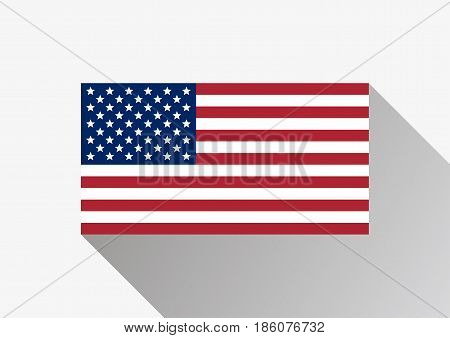Flag of the United States. American flag on a gray background. USA flag in flat design style. Vector illustration