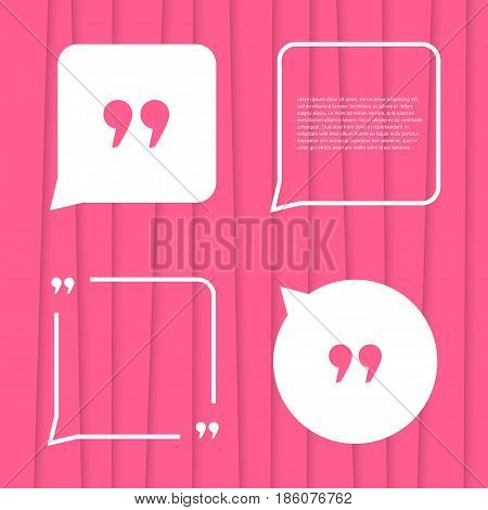 set of citation on pink striped background. concept of forum, blogging, messenger, poster, expression, conversation, abstract backdrop, punctuation. flat style trend modern design vector illustration