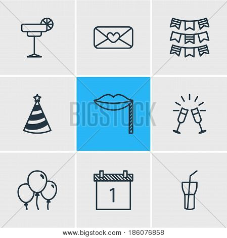 Vector Illustration Of 9 Banquet Icons. Editable Pack Of Party Flag, Goblet, Carnaval Mask And Other Elements.