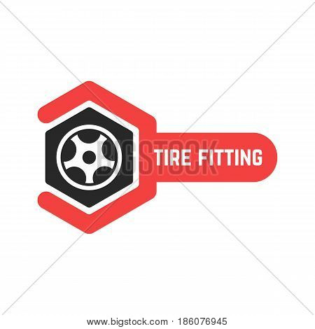tire fitting logo with wrench. concept of 24 hour support, protector, auto station, maintenance, machine disk. isolated on white background. flat style trend modern brand design vector illustration