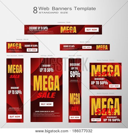 Web banners of Memorial Day Mega Sale vector set of standard size on the gradient gray background.