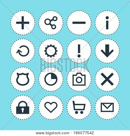 Vector Illustration Of 16 User Icons. Editable Pack Of Minus, Alert, Downward And Other Elements.