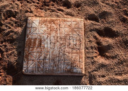 Third base safety on baseball field empty