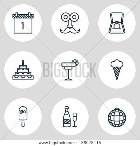 Vector Illustration Of 9 Party Icons. Editable Pack Of Engagement, Patisserie, Date Block And Other Elements.