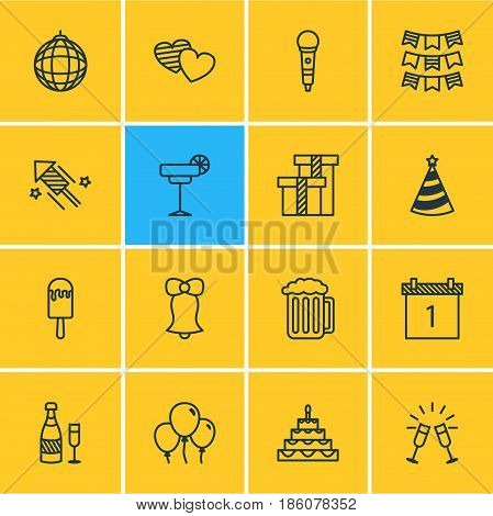 Vector Illustration Of 16 Feast Icons. Editable Pack Of Martini, Nightclub Ball, Jingle And Other Elements.