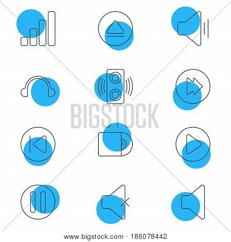 Vector Illustration Of 12 Music Icons. Editable Pack Of Preceding, Advanced, Rewind And Other Elements.