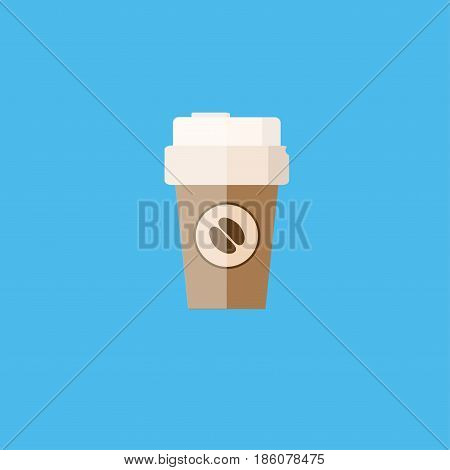 Disposable coffee cup icon with coffee beans logo Vector illustration flat design with long shadow.
