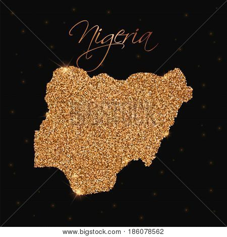Nigeria Map Filled With Golden Glitter. Luxurious Design Element, Vector Illustration.