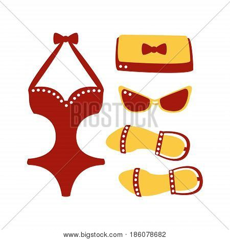 Swimsuit, glasses, bag, sandal, women beach accessories. Beach vacation. Colorful cartoon Illustration isolated on a white background