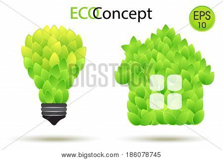 Vector eco lamp and Green House. Lightbulb and house illustration from green leaves. Eco concept for your design
