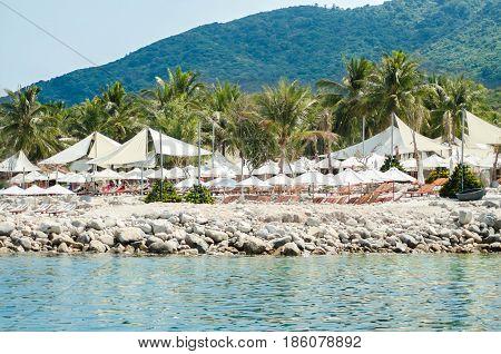 Rocky shore beach resort in Vietnam ...