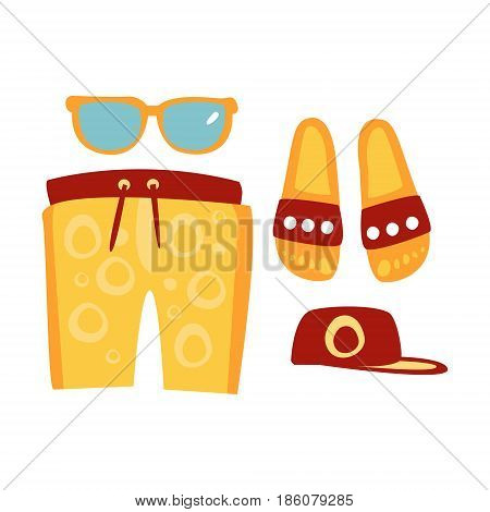 Slippers, shorts, sun glasses and cap in red and yellow colors. Colorful cartoon Illustration isolated on a white background