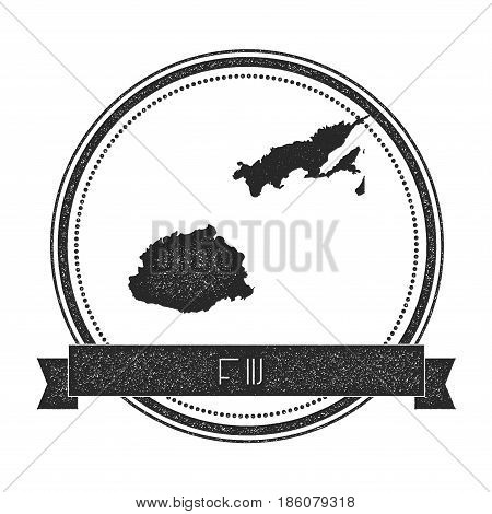 Retro Distressed Fiji Badge With Map. Hipster Round Rubber Stamp With Country Name Banner, Vector Il