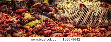 On the table, a New Orleans style crawfish boil.