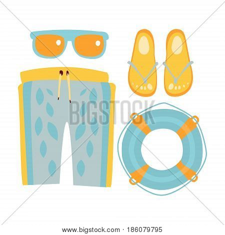 Slippers, shorts, sun glasses and lifebuoy in light blue colors. Colorful cartoon Illustration isolated on a white background