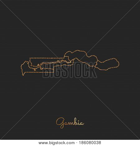 Gambia Region Map: Golden Glitter Outline With Sparkling Stars On Dark Background. Detailed Map Of G