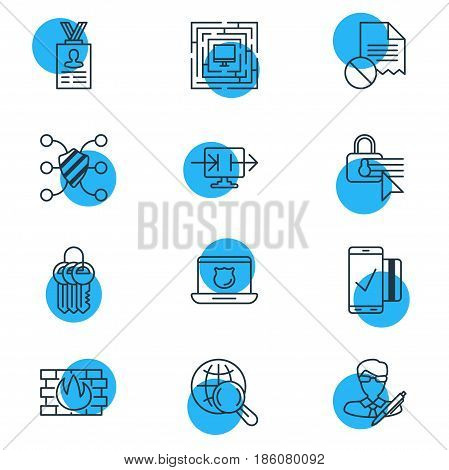 Vector Illustration Of 12 Web Safety Icons. Editable Pack Of Send Information, Safeguard, Internet Surfing And Other Elements.