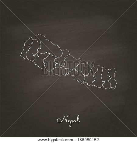 Nepal Region Map: Hand Drawn With White Chalk On School Blackboard Texture. Detailed Map Of Nepal Re